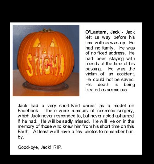 Jack O-Lantern Obit