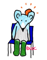 A picture of mouse sitting on a blue chair. Inside the outline of mouse's body is grass, a snow topped mountain and a blue sky. A sun is rising behind peaceful mouse's ears. Copyright- UpsideDownChronicles.