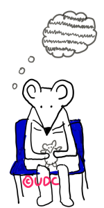 A cartoon drawing of a white mouse sitting on a blue seat. Mouse holds a tiny toy mouse in her paws and has a thought bubble above her head with grey lines through it. It looks like TV static. Image copyrighted- UpsideDownChronicles